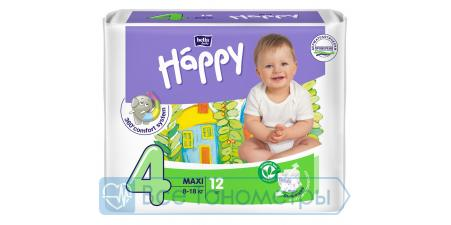 Подгузники BELLA baby Happy Fun 4 (8-18 кг), maxi, 12 шт.