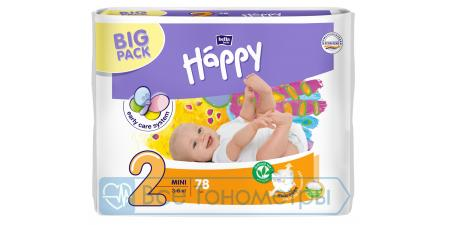 Подгузники BELLA baby Happy Start 2 (3-6 кг), mini, 78 шт