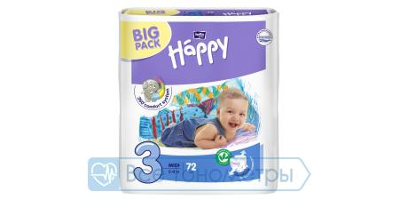 Подгузники BELLA baby Happy Fun 3 (5-9 кг), midi, 72 шт